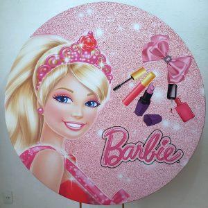 Suporte Redondo com Tecido Sublimado Barbie