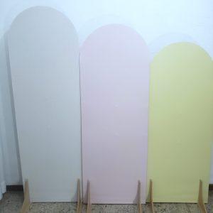 Painéis Desconstruídos Ovais com Tecidos cores Branco/Rosa/Amarelo Claro