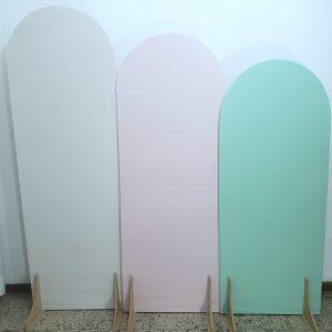 Painéis Desconstruídos Ovais com Tecidos cores Branco/Rosa/Verde Claro