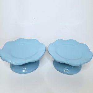 Boleira P ondulada Cerâmica Azul Bebê