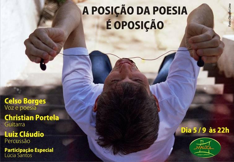 E-flyer de divulgação do show de poemúsica de Celso Borges. Foto: Cláudio Lima