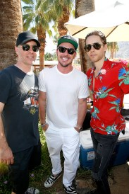 PALM SPRINGS, CA - APRIL 16: (L-R) Travis Andres and musician Shannon Leto of Black Fuel Trading Company, and actor/musician Jared Leto attend The Retreat Palm Springs 2016 on April 16, 2016 in Palm Springs, California. (Photo by Jonathan Leibson/Getty Images for Lodger Flms)