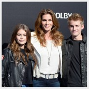 "ANAHEIM, CA - MAY 09: (L-R) Kaia Gerber, Cindy Crawford and Presley Gerber attend the premiere of Disney's ""Tomorrowland"" at AMC Downtown Disney 12 Theater on May 9, 2015 in Anaheim, California. (Photo by Frazer Harrison/Getty Images)"