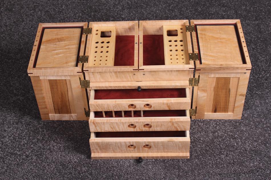Tiger Maple Portable Fly Tying Box Pontillo Furniture