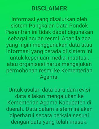 disclaimer dari pengembang