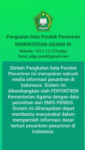 keterangan singkat tentang pangkalan data Pondok Pesantren