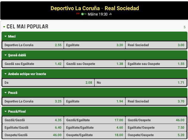 Deportivo La Coruna vs Real Sociedad