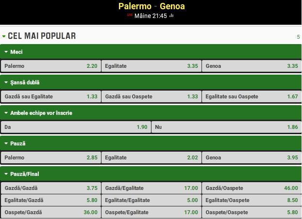 Palermo vs Genoa