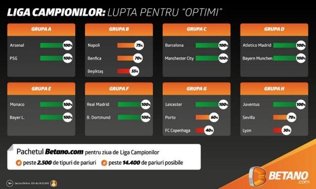 Peste 14.000 de pariuri posibile pe betano.com pentru meciurile din Uefa Champions League
