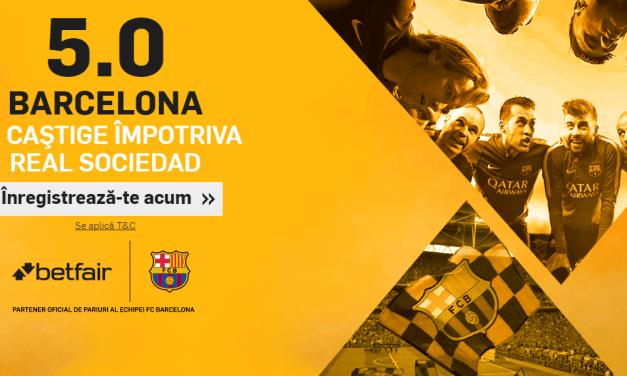 Cota 5.00 ca Barcelona sa o invinga pe Real Sociedad