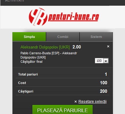 VALUE BET TENIS (24.02.2017) @ 2,00 cotă de speculat