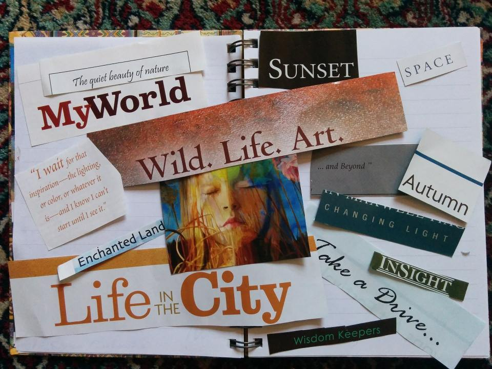 an example of a traditional vision board in a notebook