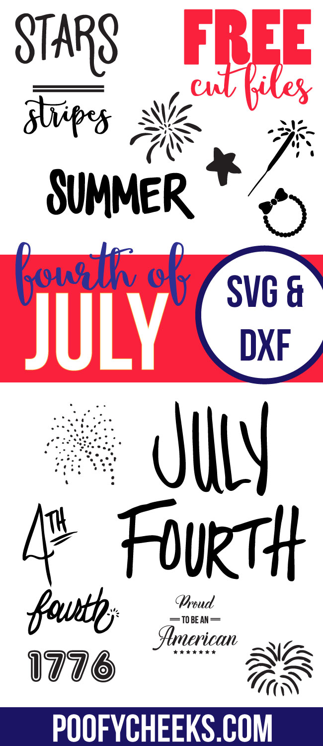 Free SVG and DXF Fourth of July cut files. Vector Files to use with Silhouette Cameo and Cricut.