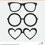 Glasses Cut File for Silhouette and Cricut machines. Free cut file in SVG, PNG and DXF formats.