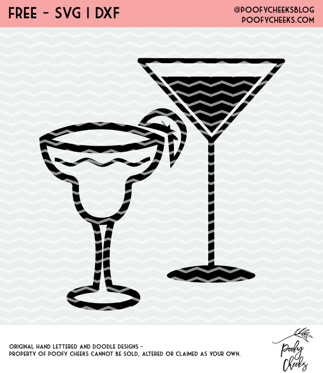 Cocktail Cut File - Silhouette and Cricut Cut Files - DXF, SVG and PNG