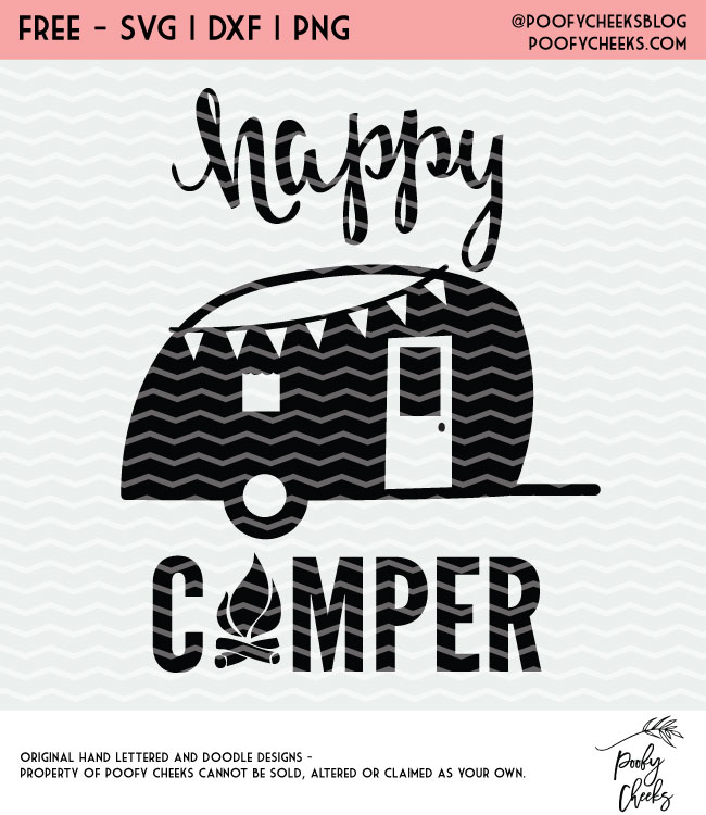 Download Happy Camper Cut File for Silhouette and Cricut. Free SVG