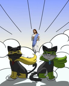 Pooks and Boots as superheroes with Jesus