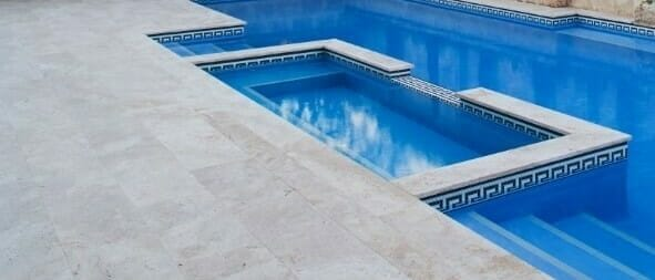 ivory travertine pool coping bullnose unfilled and tumbled
