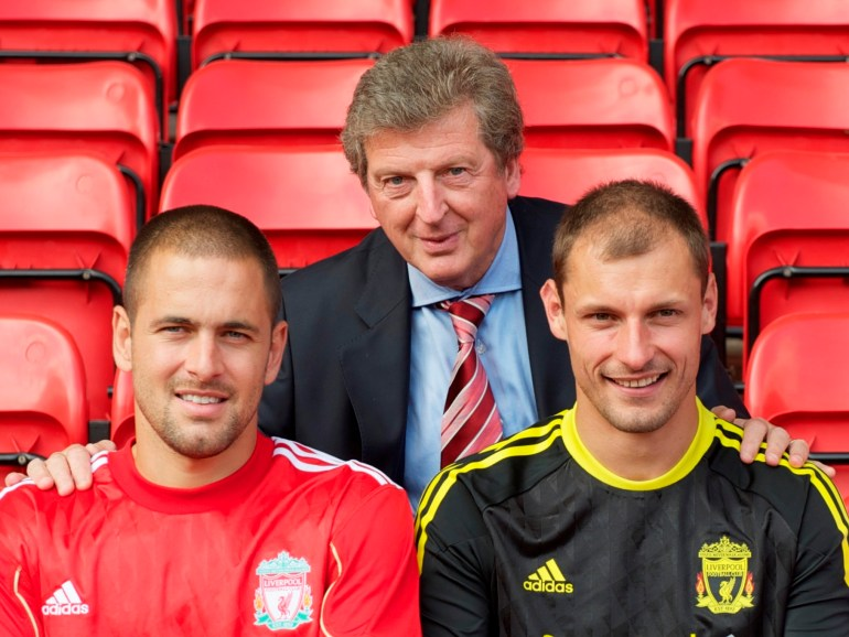 LIVERPOOL, ENGLAND - Tuesday, July 27, 2010: Liverpool FC's new signings Joe Cole, Danny Wilson and Milan Jovanovic with manager Roy Hodgson during a photo-call at Anfield. (Pic by David Rawcliffe/Propaganda)