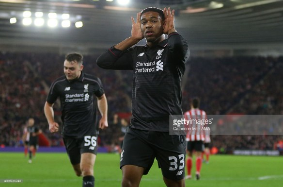 SOUTHAMPTON, ENGLAND - DECEMBER 02: Jordon Ibe of Liverpool celebrates after he scores a goal to make it 1-5 during the Capital One Cup Quarter Final between Southampton and Liverpool at St Mary's Stadium on December 2, 2015 in Southampton, England. (Photo by Catherine Ivill - AMA/Getty Images)