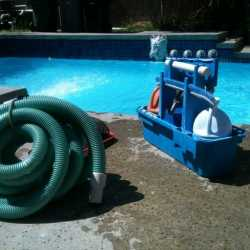 preparing to clean the pool