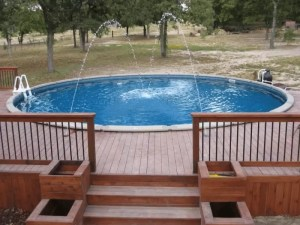 Large Pool with Deck and Spray Fountains
