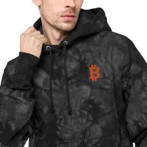 Bitcoin Logo Unisex Champion tie-dye hoodie