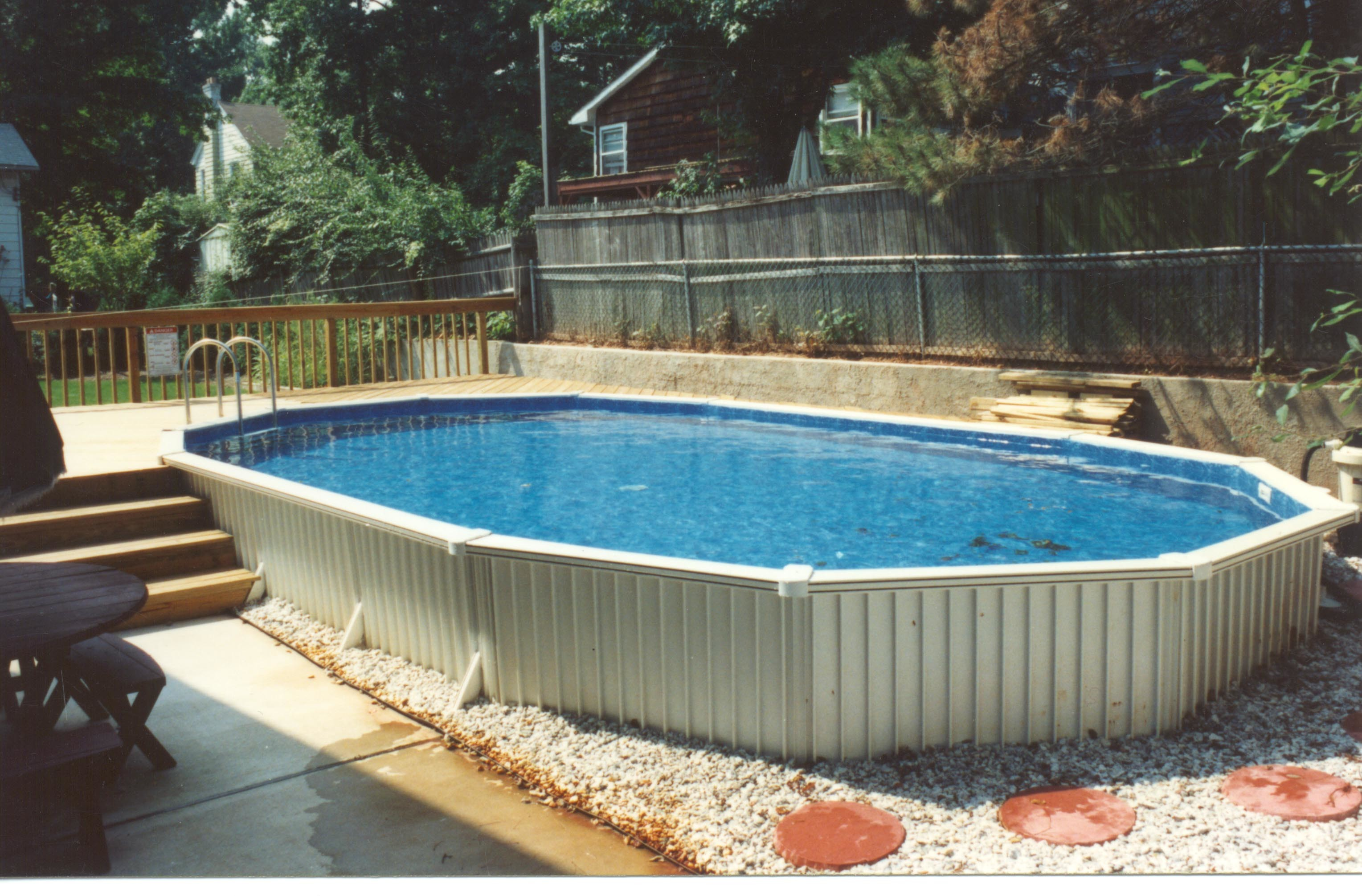 Pool With Patio Stones Semi Inground Wood Deck