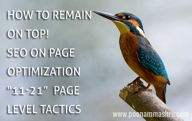 seo on page optimization tactics tips poonam mashru blogger