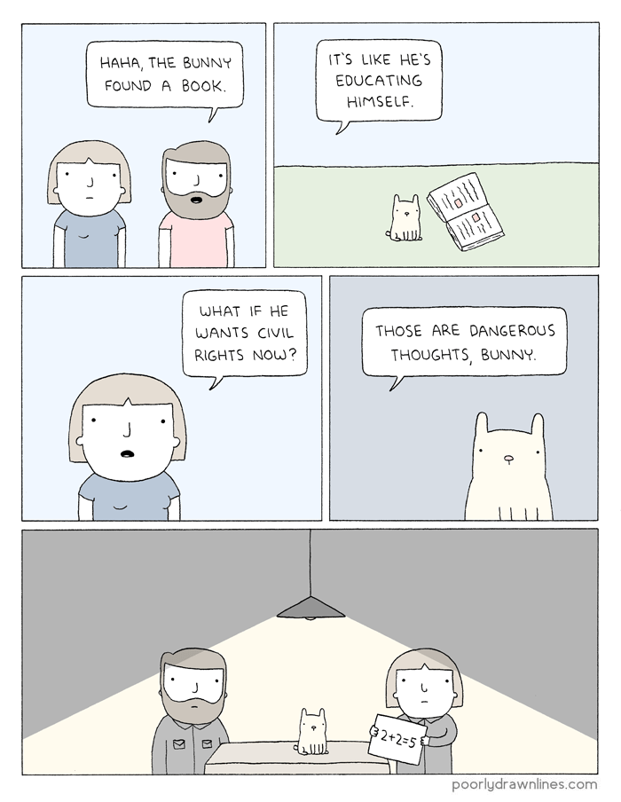 Bunny Has a Book - Poorly Drawn Lines