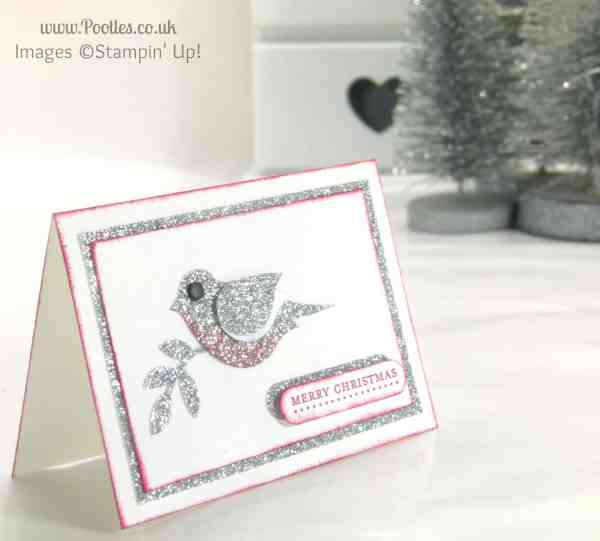 Pootles Mini Merry Christmas Card using Stampin' Up! Bird Builder Punch