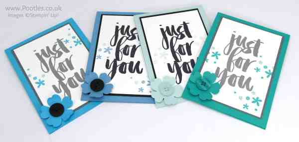Stampin' Up! Demonstrator Pootles - March Customer Thank You Cards Blues