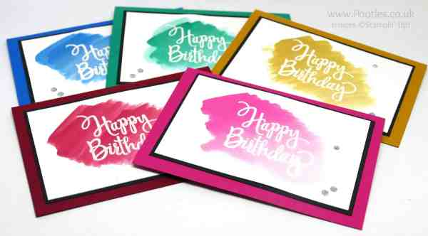 Stampin' Up! Demonstrator Pootles - Beautiful Birthday Cards Watercoloured All 5 Colours