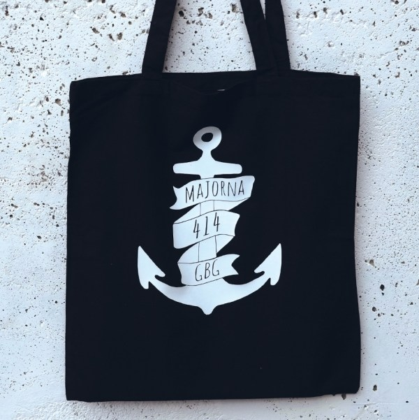 Tote bag Majorna anchor black