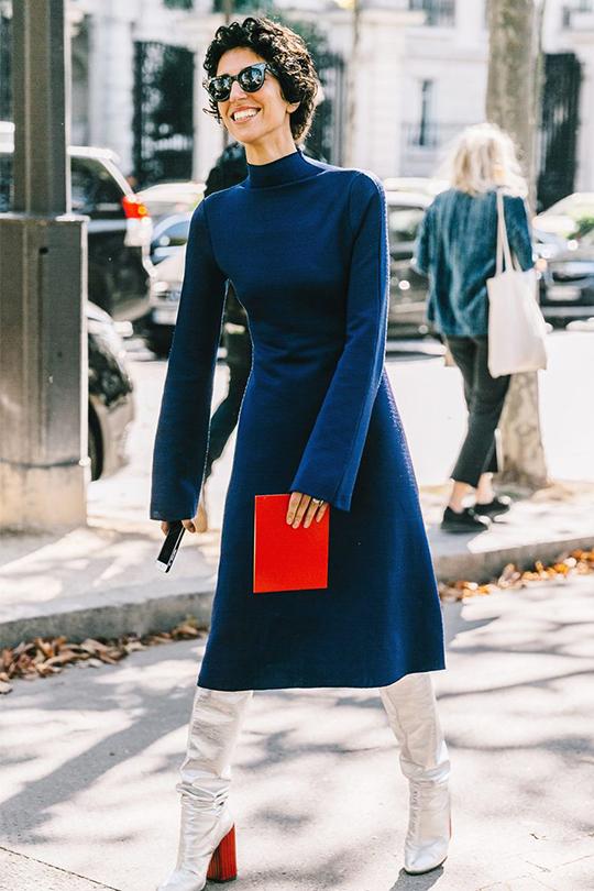 深藍顏色配搭學街拍示範