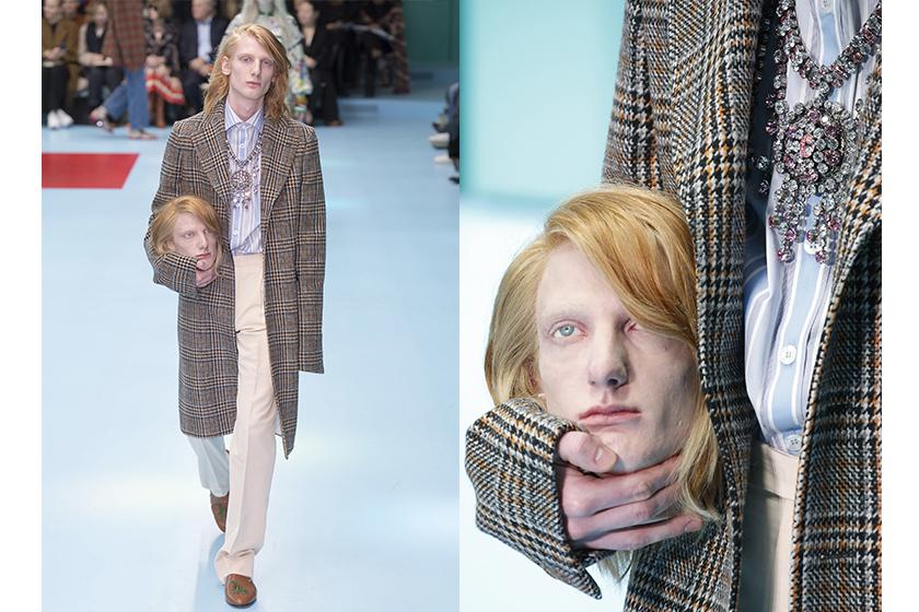 Gucci 2018 秋冬 米蘭時裝周天橋上模特兒人頭原來是源於基督教的 Cephalophore