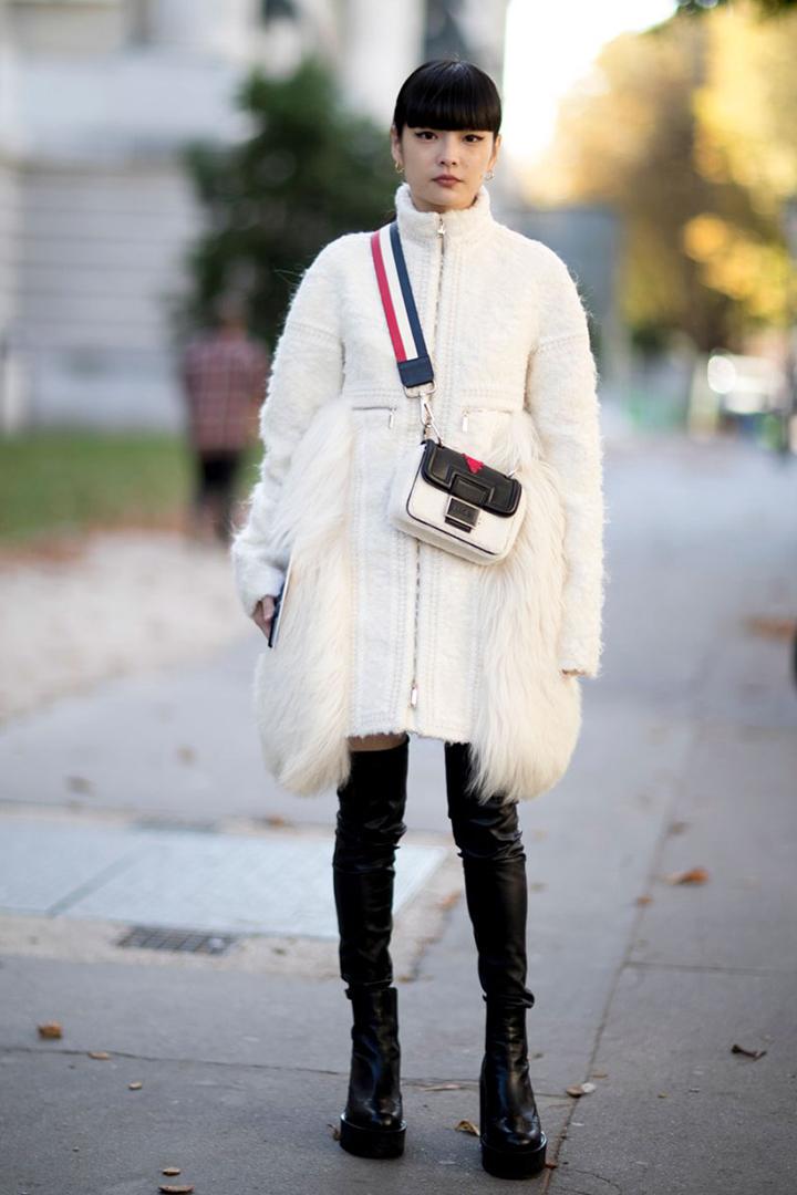 冬日白色穿搭學