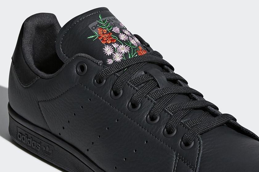 Adidas Originals 黑色花卉刺繡版Stan Smith