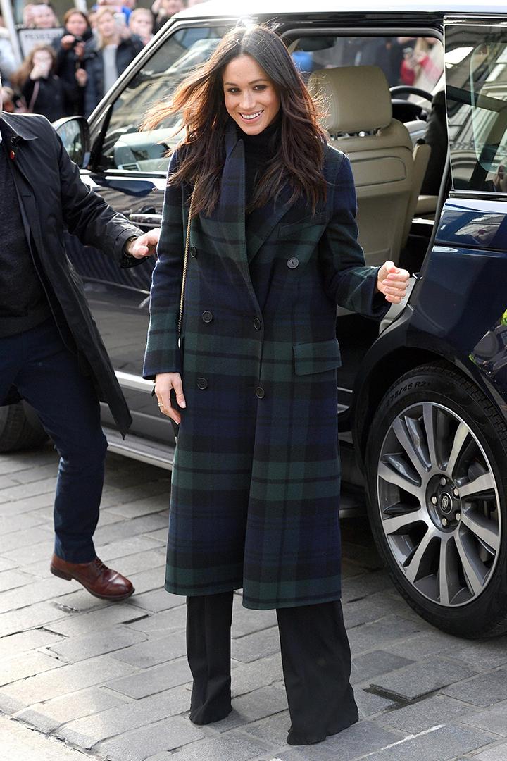 Meghan Markle popular fashion items Gucci black suede bag Burberry Tartan Coat Mulberry small navy bag