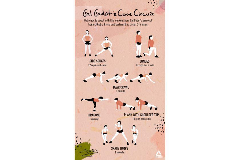 Gal Gadot reebok core circuit workout routine