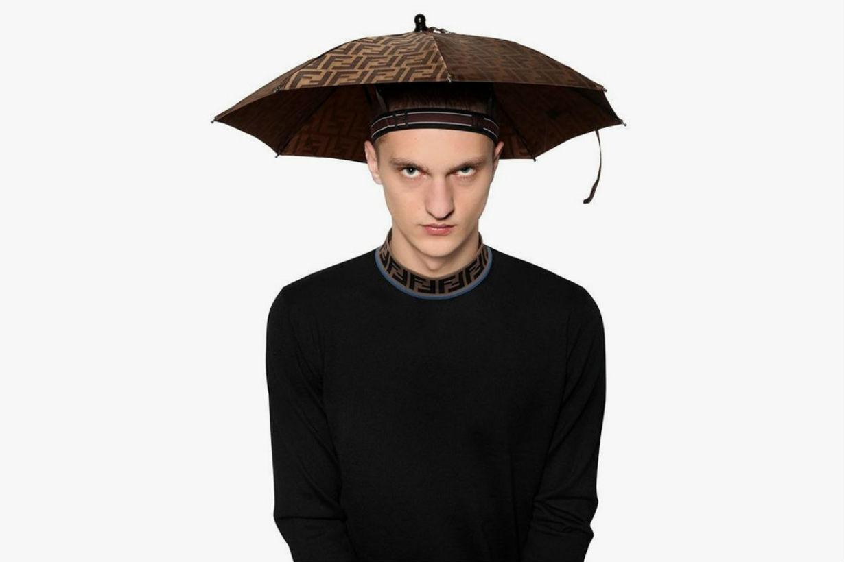 Stay Dry With Fendi's Logo Print Umbrella Hat