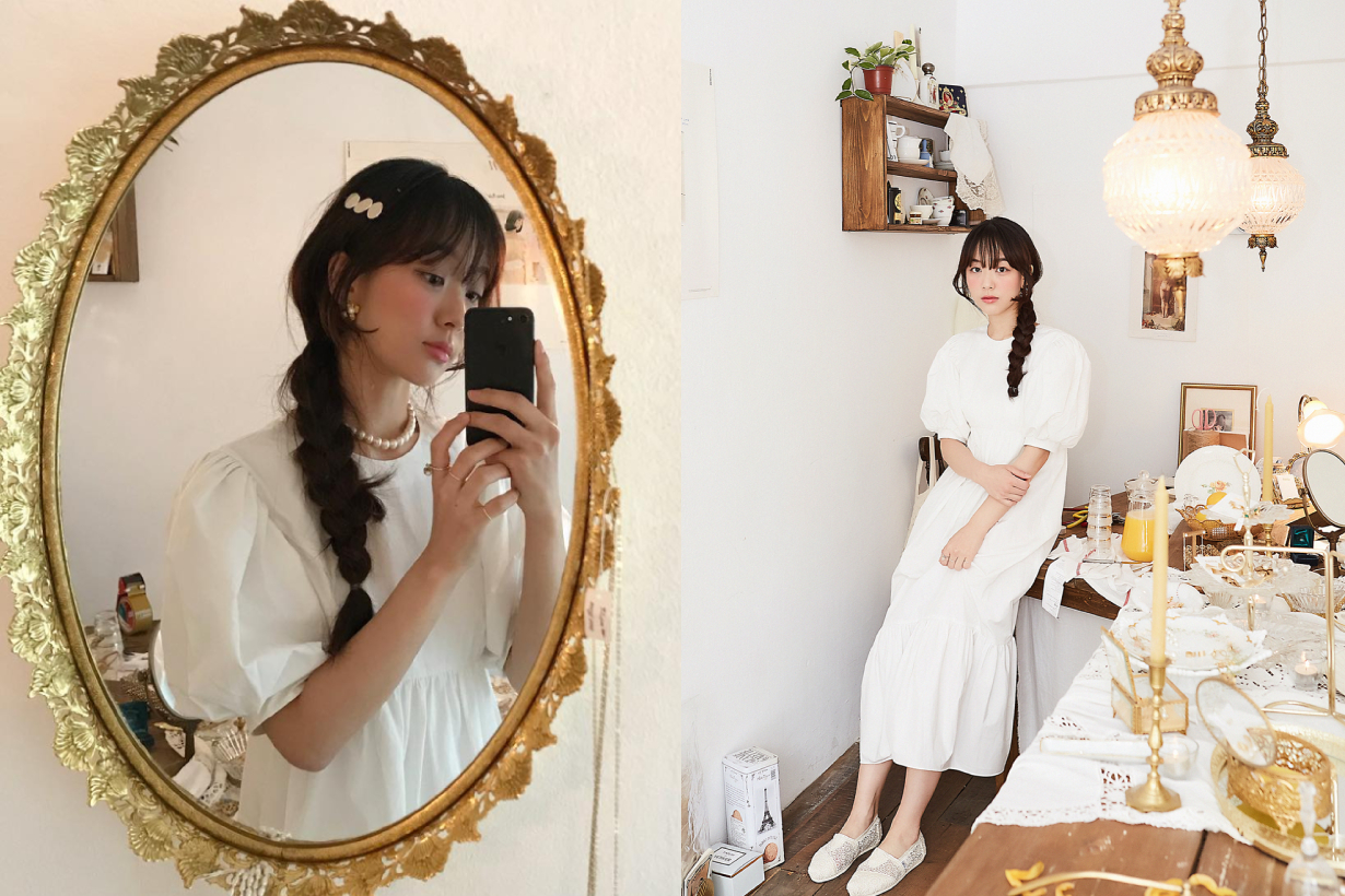 french vintage elegant style dress acc yangeeeyang flétta instagram
