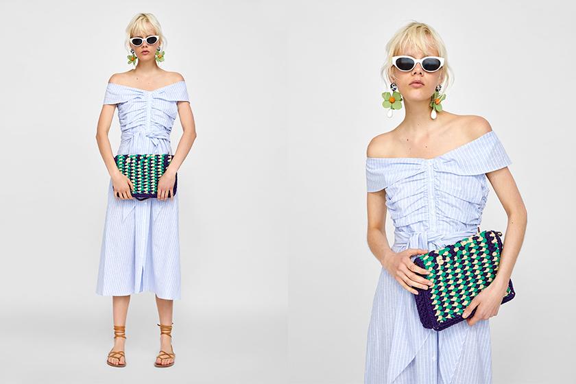 zara kate middleton blue off shoulder dress