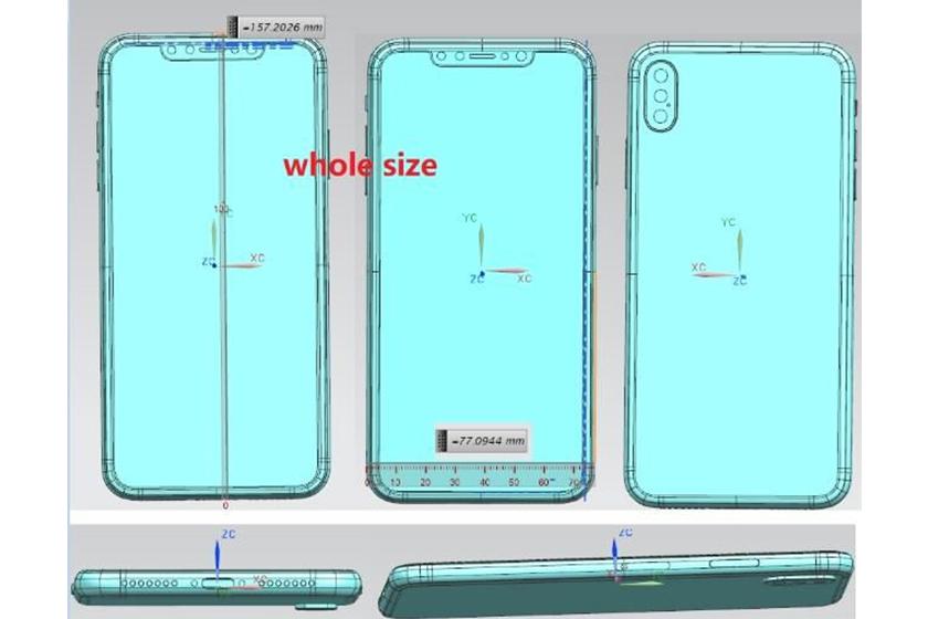 apple iphone x plus design leak triple camera new