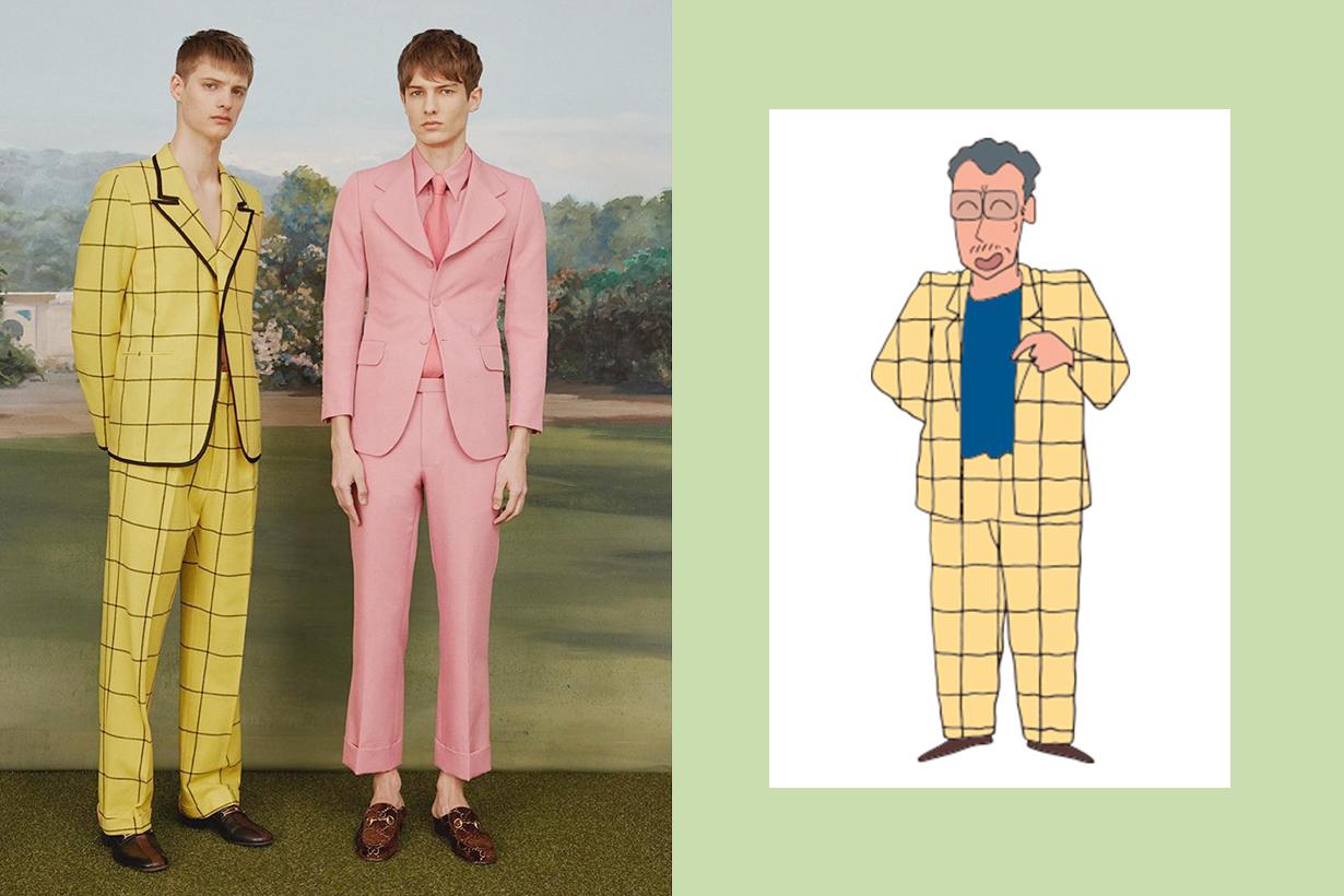 Gucci Suit Elton John Crayon Shin-chan cartoon