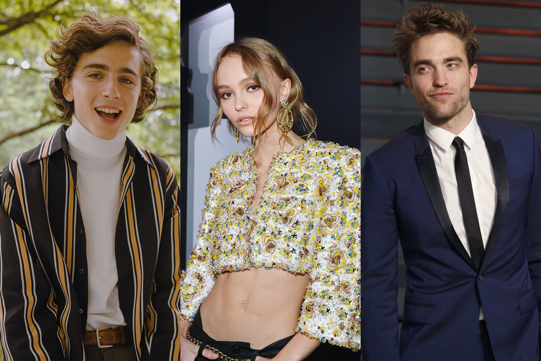 lily rose depp timothee chalamet and robert pattinson star in new netflix film the king
