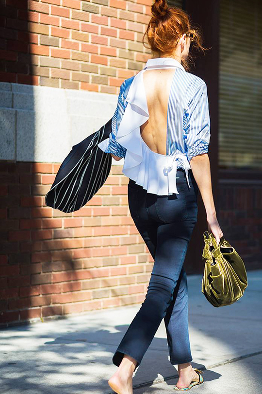 non-aging-outfit-formula off shoulder top jeans sneakers sandals