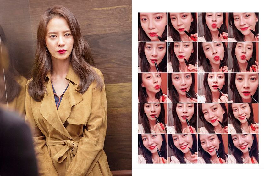 song ji hyo instagram selfie red lips