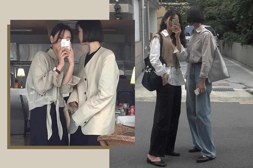 friends match outfits korean girls inspiraiton tree__bird1 _mmiing instagram