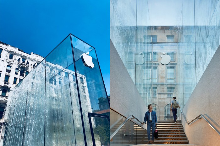 現代玻璃幕遇上古典噴泉,還有比這更美的 Apple Store 嗎?